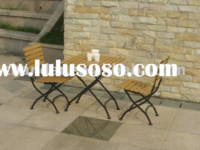 outdoor plastic wood iron folding table and chair