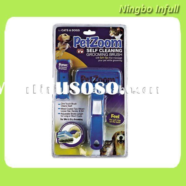 pet zoom self cleaning grooming brush for dog, cat