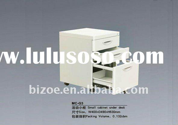 practical and popular black mobile small cabinet with three drawers