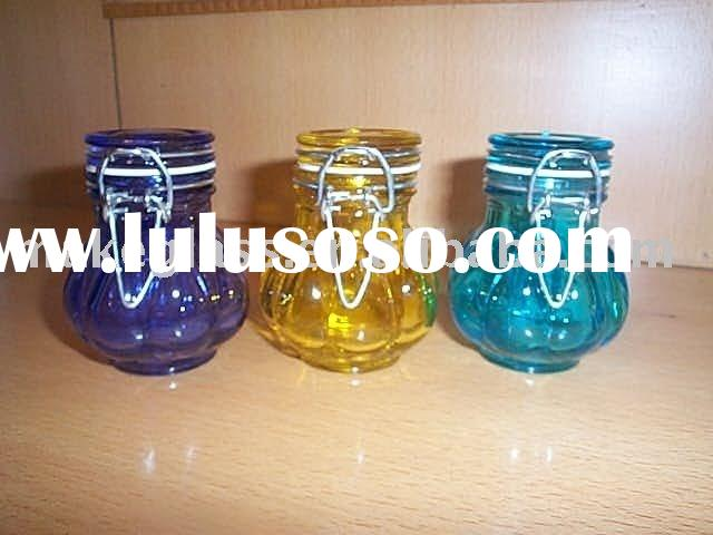 small colored glass spice jar with metel clip