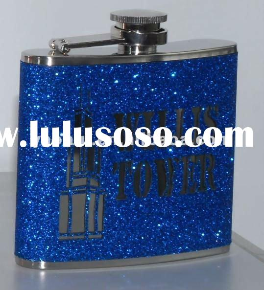 stainless steel hip flask with PU leather wrap and laser cutting logo