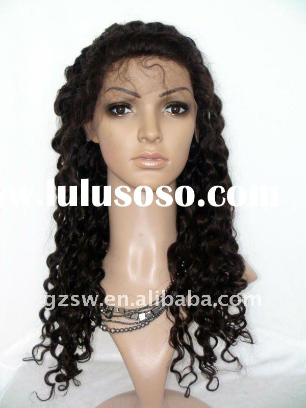 stock wholesale fashion 2# 20 inch deep wave 100% indian hair full lace wig