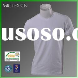 wholesale blank t shirts for men cotton spandex V-neck short sleeves bio washed OEM (OEKO-TEX,ISO900