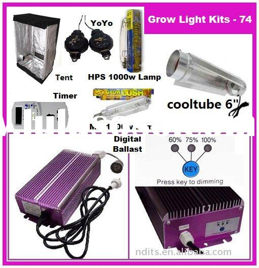 1000w HPS/MH Lamp Digital Ballast HYDROPONICS Cool Tube Shade Grow Room/tent Timer Reflector hanger