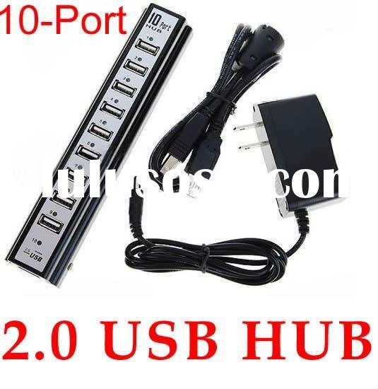 10-Port USB 2.0 Hub with External Power Source (100~240V AC Adapter)