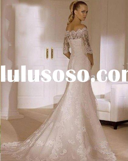 2011 new style off shoulder lace bridal wedding dress