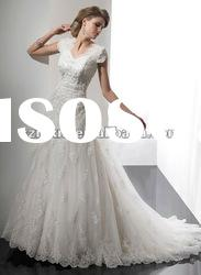 2012 Free Shipping cascading ruffle wedding dress Beaded Stack-up wedding dress Gowns A012