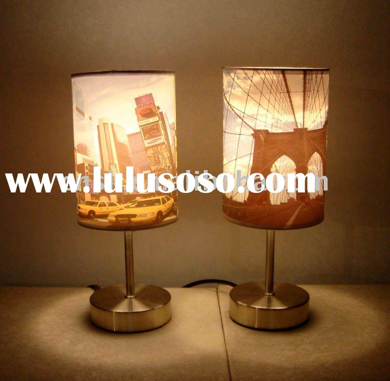 2012 PP shade and metal base modern kid table lamp