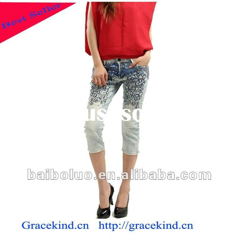 2012 Well designer Fashion Ladies metal studs Jeans