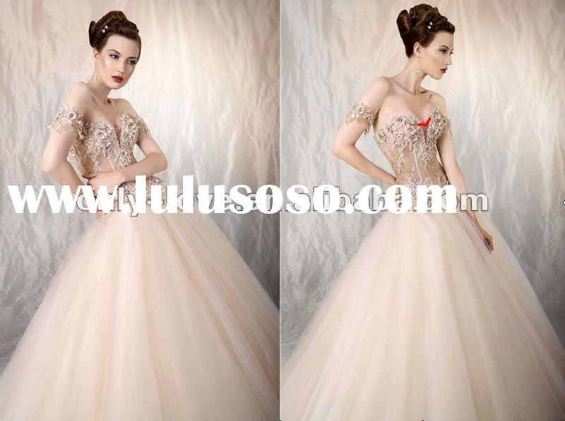 2012 lace crystals boned transparent corset bodice with ball gown puffy tulle skirt wedding dresses