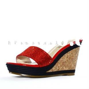 2012summer new style simple ironed ablazely wooden wedges fashion lady cool slippers