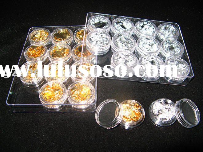24 Pots Gold + Silver Foil FLAKES leaf Set for Nail Art