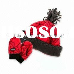 Baby Fleece Hat Beanie/Mitten Glove Set with Lovely Printing Pattern, Customized Colors are Welcome