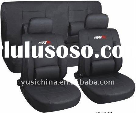Black PU car seat cover with armrest and zippers