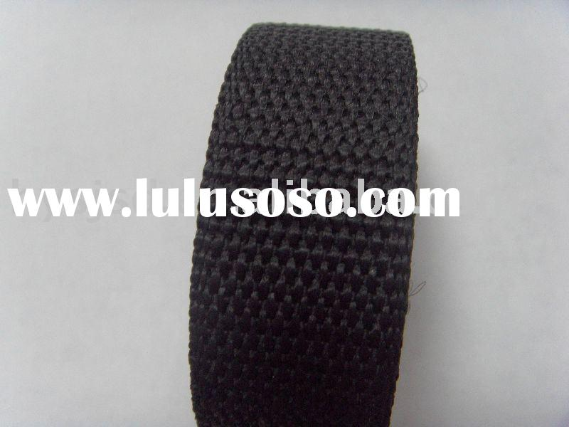 Black and flat thick strong woven nylon webbing