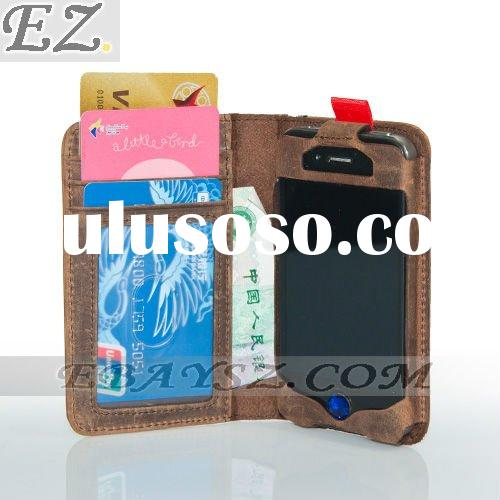 Book Style Leather Case for iphone 4 all-in-one vintage leather case+wallet LF-0335