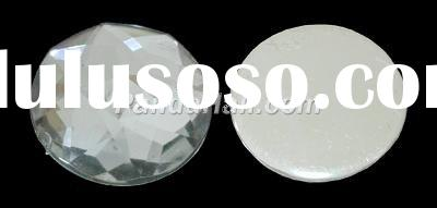 Cabochon, Acrylic Rhinestone Beads, Round, White, about 12mm in diameter, 4mm thick (PGO-12mm38)