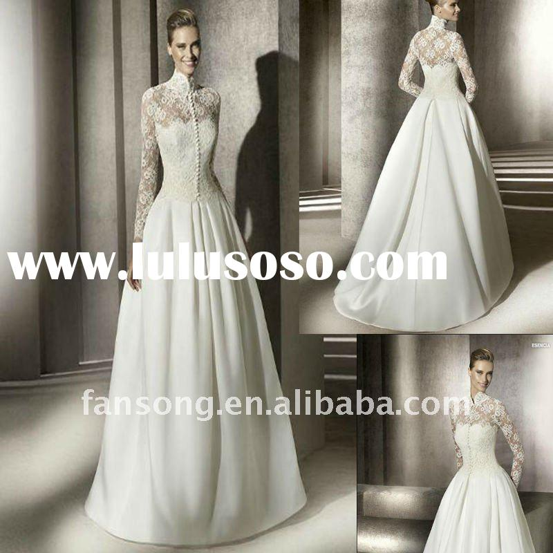 Charming long sleeve high neck lace corest wedding dress