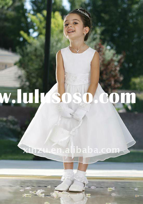 Christmas White Organza Embroidery Sash Little Queen Flower Girl Dress--FGD5068