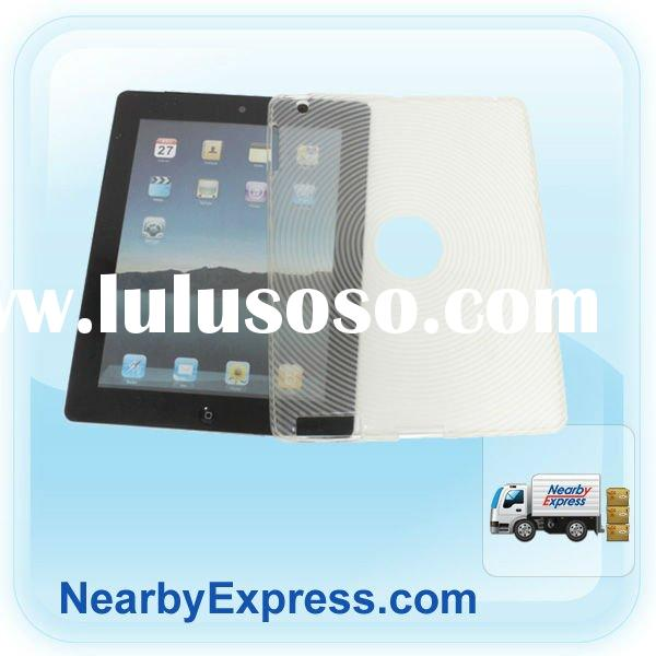 Clear White Concentric Circle TPU Skin Case Clip On Cover for Apple iPad 2
