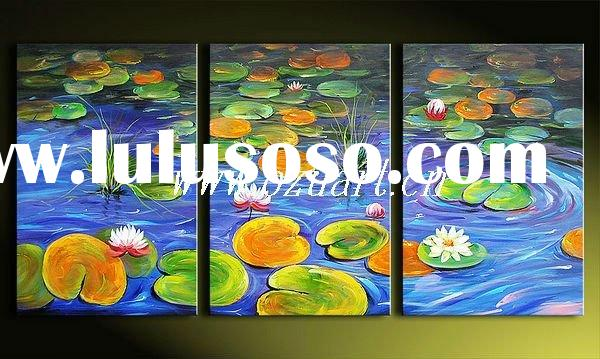 Contemporary abstract oil painting of lily pond scene