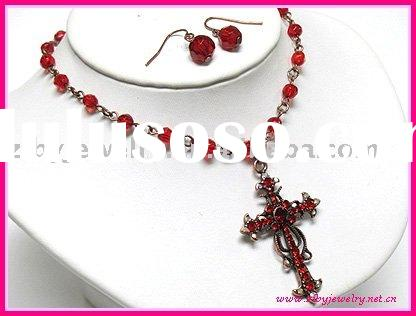 Crystal cross pendant and beads chain necklace and earring set