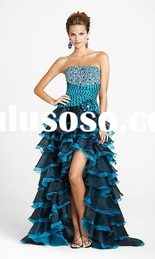 Dazzling hot sale Fashion Black and Blue Strapless hi-lo Prom Dress 2012