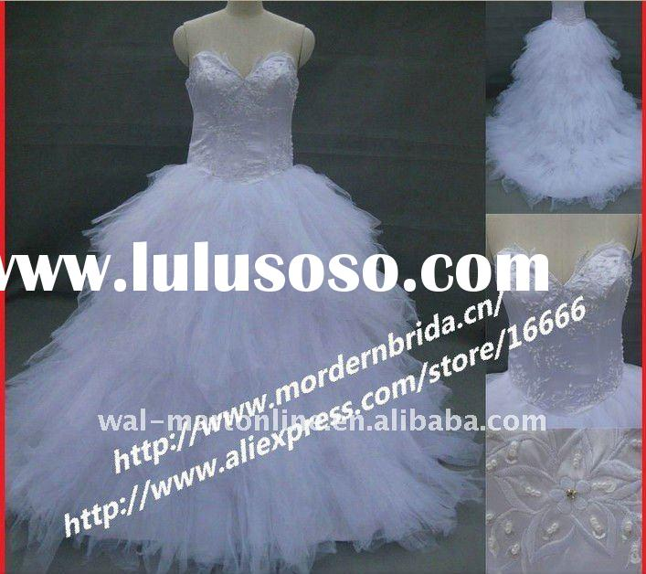 Designer RW030 Ball Gown White Tulle Ruffle Stylish Bridal Wedding Dress 2012