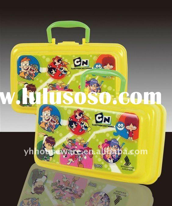 Eco-friendly plastic lunch box with handle for children
