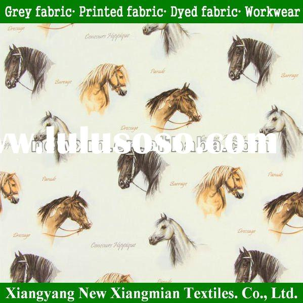 Fashionable Horse Print Fabric 100 Cotton Material