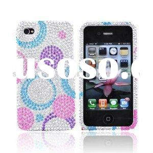 For Verizon AT&T Apple iPhone 4 Bling Hard Case Cover Circles P Crystal Rhinestone Bling Hard Ca