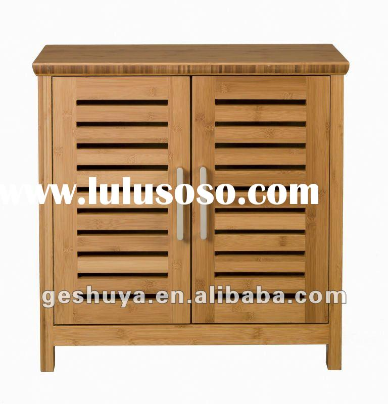 Fully assembled modern design bathroom vanity cabinet with bamboo