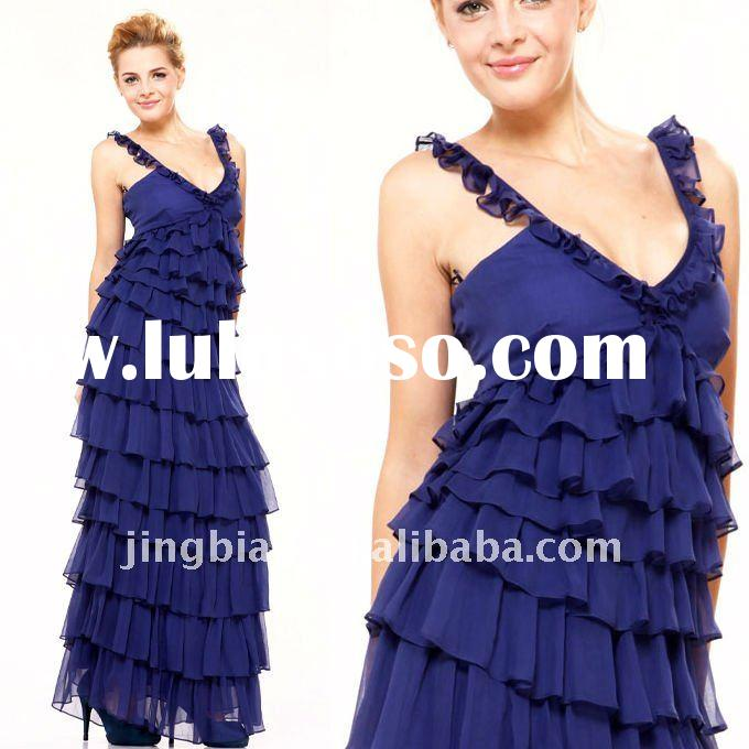 Gorgeous navy blue chiffon Evening Dress 2012 Formal Prom Gown Fashion Design Party Dresses ED121