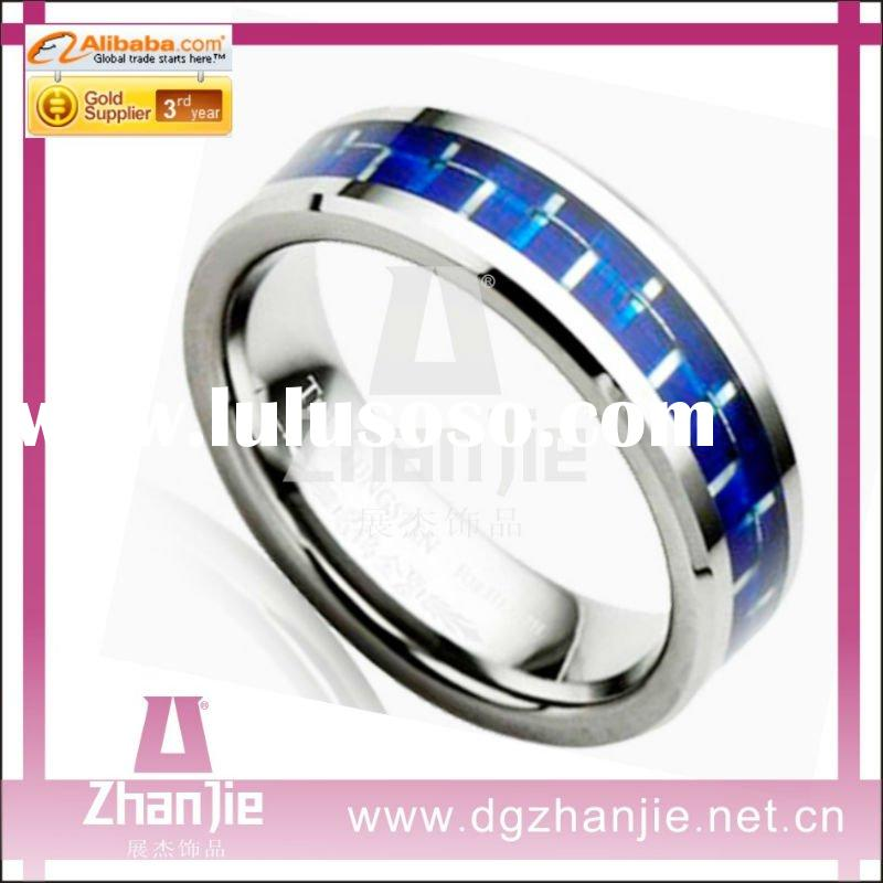 HOT Sale Stainless Steel Blue And Platinum Men's Ring