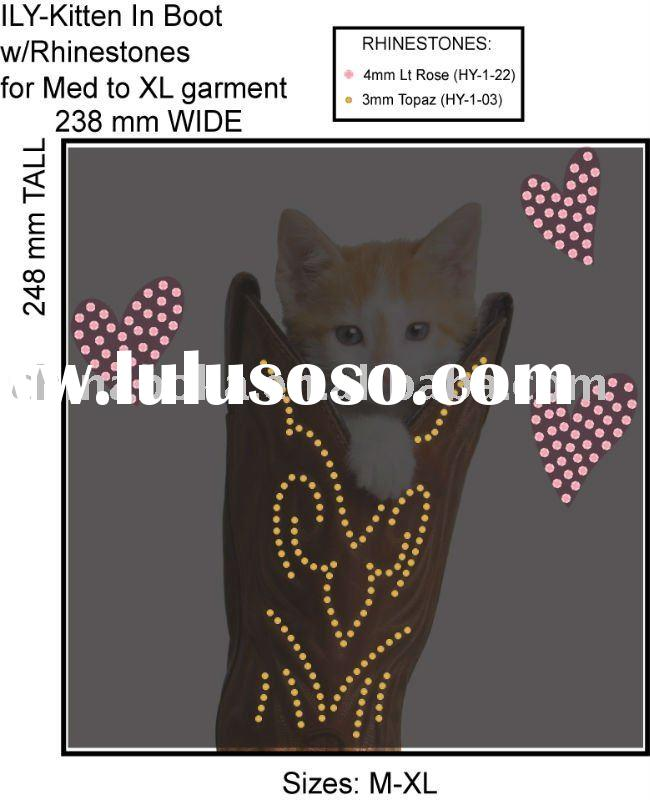 Heat transfer ,Iron on transfer,Iron on motif design,kitten in boot