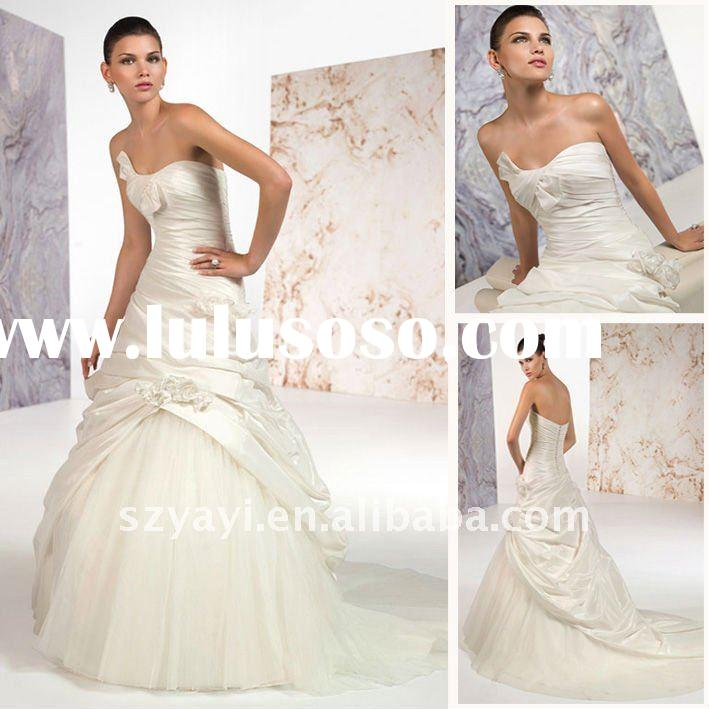 High Quality 2012 Design Strapless Ball Gown Wedding Dresses Draped Taffeta Flower Tulle Bridal Gown