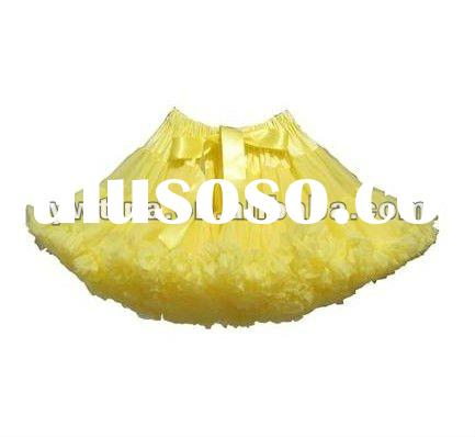 Hot Sale!! Yellow Fluffy Chiffon Pettiskirts/ Skirts/ Ballet skirts/ Tutus with bows for girls