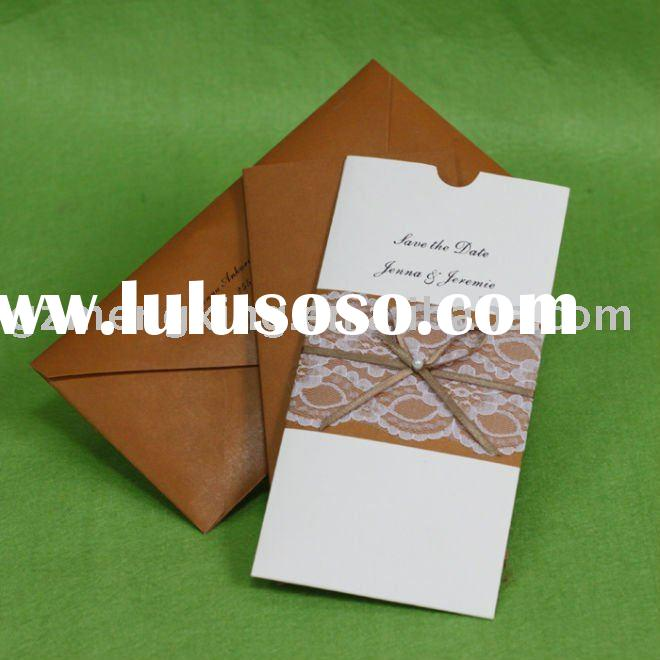 Lace wedding card with brown Ribbon/print wedding invitation cards/greeting cards/wedding decorate/w