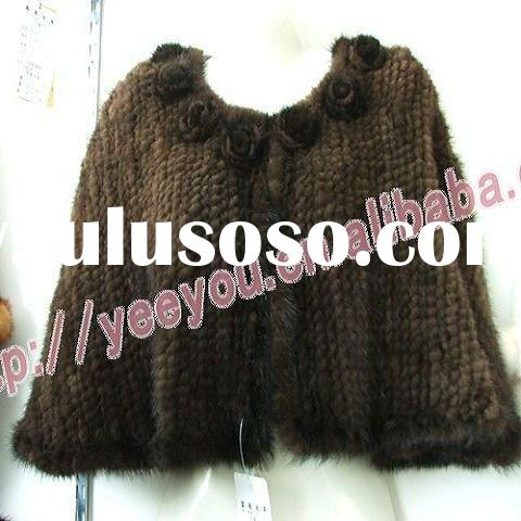 Lady Brown Mink Fur Knitted Flower cape Ps29