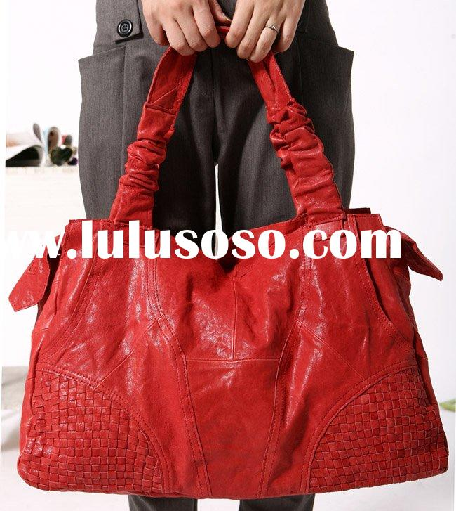 Low MOQ Wholesale 8666 red 100% genuine leather handbag