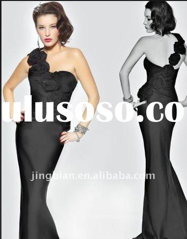 One shoulder Couture Inspired Evening Dress with A Cascade of Flowers Across Dress 2012 Black Party