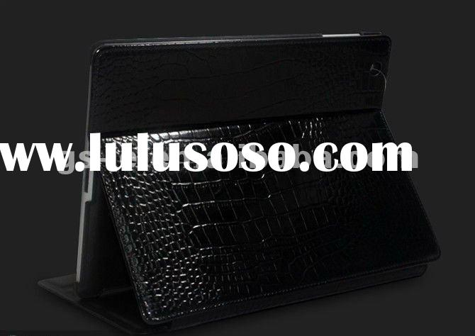 Stand Genuine Crocodile leather case for ipad 2