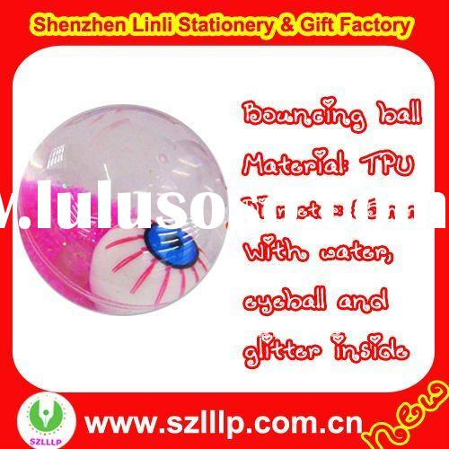 Supply 55mm TPU glitter water eyes LED flashing bouncing ball