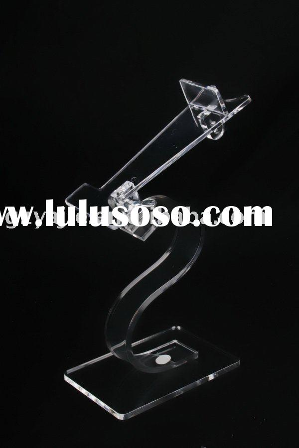 (C-038)Deluxe Freestanding Elegant Design Crystal Acrylic Shoe Display Stand With S Shape Base