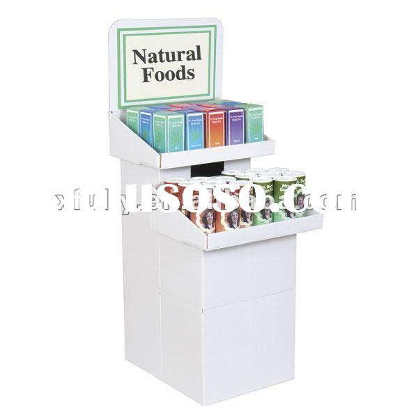 cardboard displays and racks/pap cardboard corrugated floor display/folding display shelf