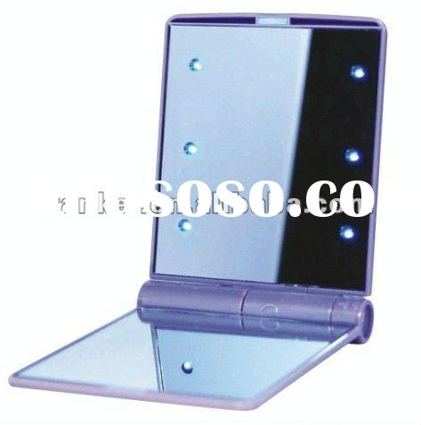compact make up mirror with LED lights