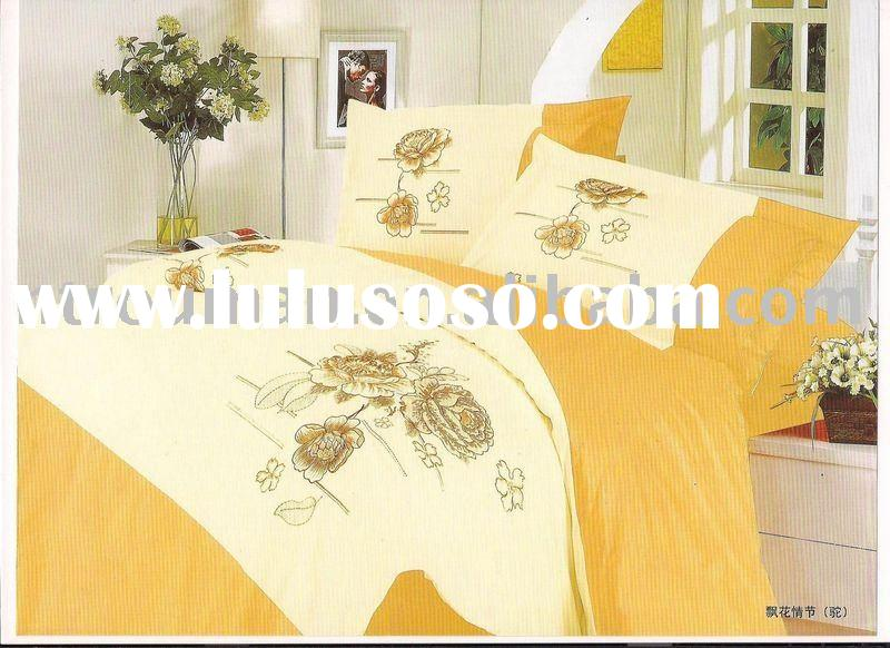 cotton/polyester embroidered bedding sets, bed sheets, T/C fabric