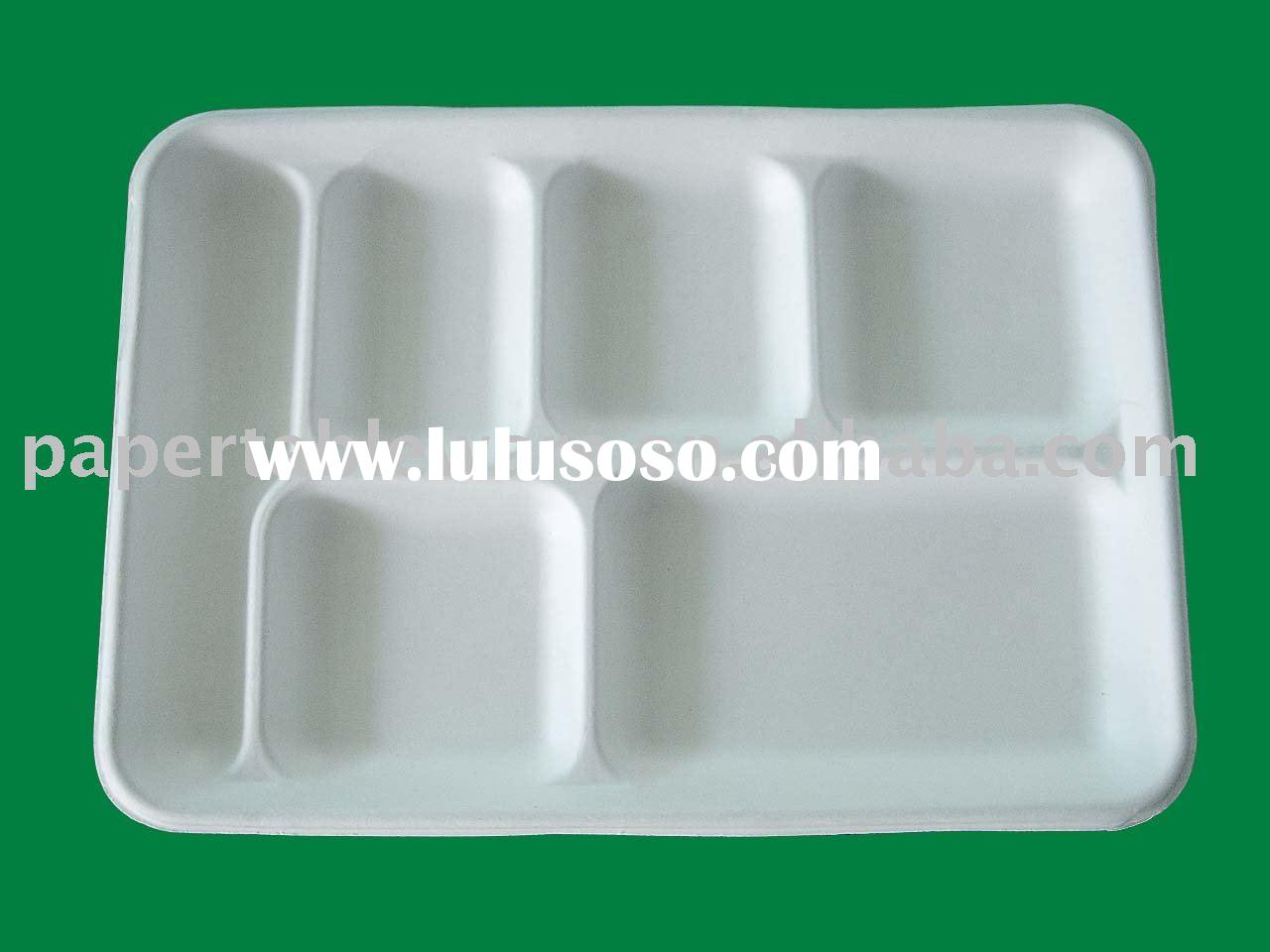 eco-friendly 7-compartment tray,disposable airline food packaging