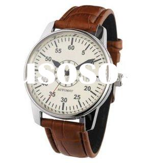 fashion custom men's genuine leather band strap mens quartz stainless steel watch