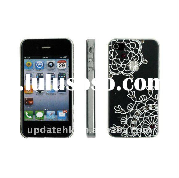 for iphone4s case; Embroider with jewelly hard case for iPhone 4&4S